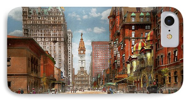 IPhone Case featuring the photograph City - Pa Philadelphia - Broad Street 1905 by Mike Savad