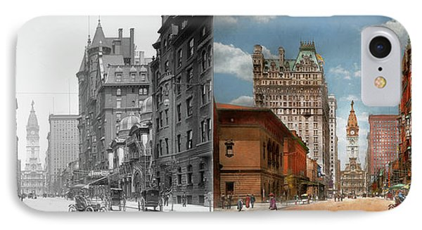 IPhone Case featuring the photograph City - Pa Philadelphia - Broad Street 1905 - Side By Side by Mike Savad