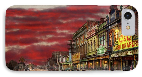 IPhone Case featuring the photograph City - Palmerston North Nz - The Shopping District 1908 by Mike Savad