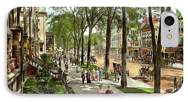 City - Saratoga Ny -  I Would Love To Be On Broadway 1915 IPhone Case by Mike Savad