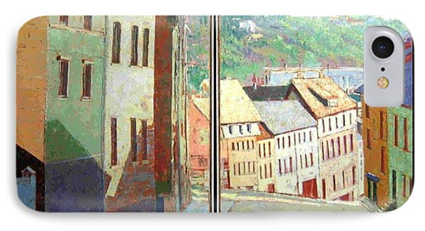 IPhone Case featuring the painting City Scape-dyptich by Walter Casaravilla