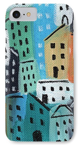 City Stories- Blue And Orange IPhone Case by Linda Woods