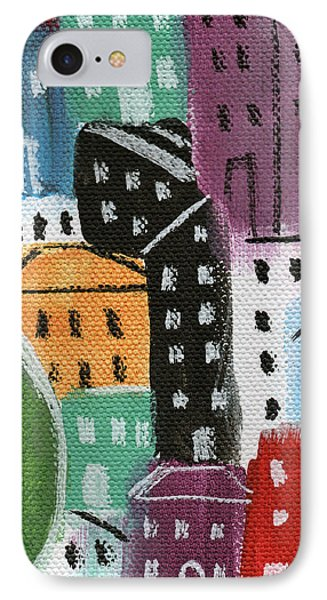 City Stories- By The Park IPhone Case by Linda Woods