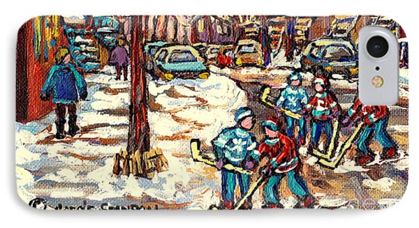 City Streets Of Montreal Winter Hockey Scene After The Snowfall Original Canadian Art Carole Spandau IPhone Case by Carole Spandau