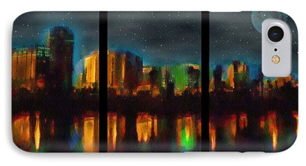 City Under A Blue Moon IPhone Case by Mario Carini
