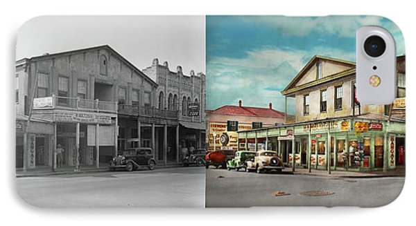 City - Victoria Tx - The Old Rupley Hotel 1931 - Side By Side IPhone Case by Mike Savad