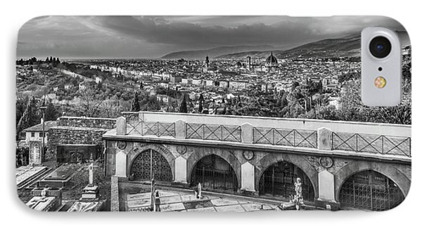 Cityscape Of Florence And Cemetery IPhone Case by Sonny Marcyan