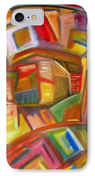 IPhone Case featuring the painting Citystack by Patricia Cleasby