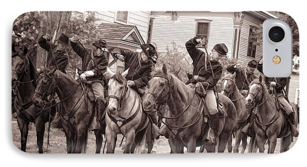 Civil War Soldiers On Horses IPhone Case by Rena Trepanier