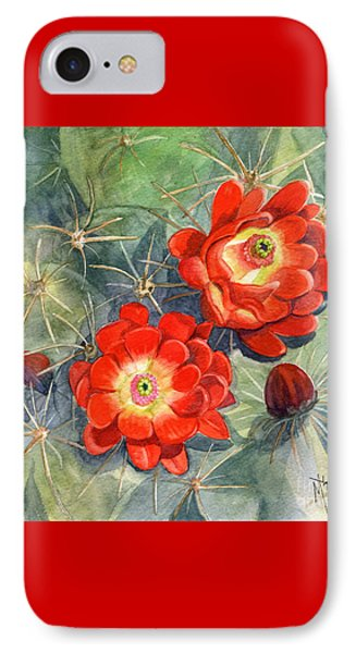 Claret Cup Cactus IPhone Case by Marilyn Smith