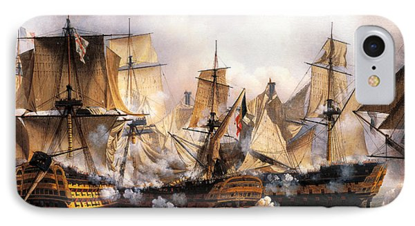Clash Between English Temeraire And French Redoubtable Ships During Battle Of Trafalgar IPhone Case
