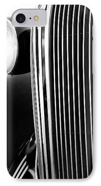 Classic Car Grill Detail Black And White Photograph By Ann Powell IPhone Case by Ann Powell