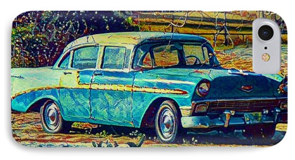 IPhone Case featuring the digital art Classic Car On An Old Dirt Road by David Mckinney