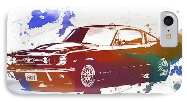 Classic Ford Mustang Watercolor Splash IPhone Case by Dan Sproul