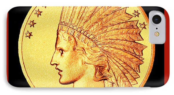 Classic Indian Head Gold IPhone Case by Jim Carrell