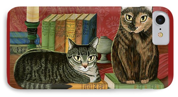 IPhone Case featuring the painting Classic Literary Cats by Carrie Hawks