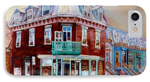 Classic Montreal Storefront Painting Peloponissos Pizza Bakery Neighborhood Memories Canadian Art  IPhone Case by Carole Spandau