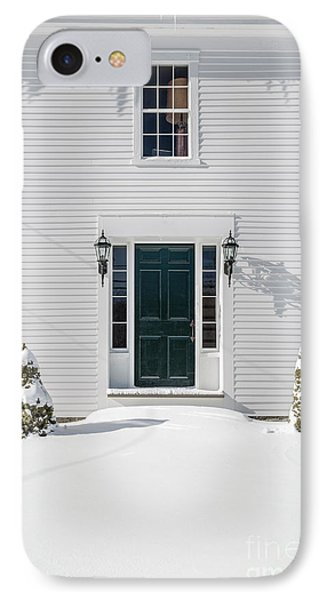 Classic New England Wood Framed Colonial Home In Winter IPhone Case by Edward Fielding