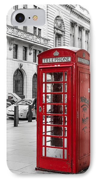 Red Telephone Box In London England IPhone Case by John Williams