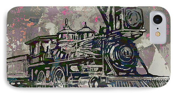 Classic Steam Train - New Pop Art Poster IPhone Case by Kim Wang