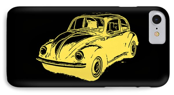 Classic Vw Beetle Tee Yellow Ink IPhone Case by Edward Fielding