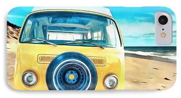 Classic Vw Camper On The Beach IPhone Case by Edward Fielding