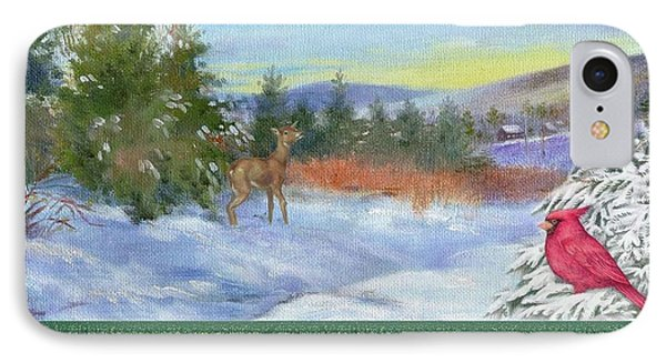 IPhone Case featuring the painting Classic Winterscape With Cardinal And Reindeer by Judith Cheng