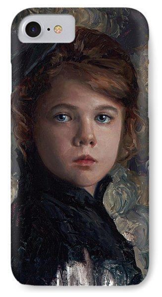 IPhone Case featuring the painting Classical Portrait Of Young Girl In Victorian Dress by Karen Whitworth