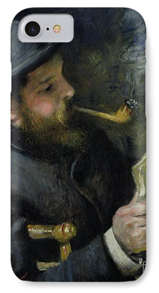 Claude Monet Reading A Newspaper IPhone Case by Pierre Auguste Renoir