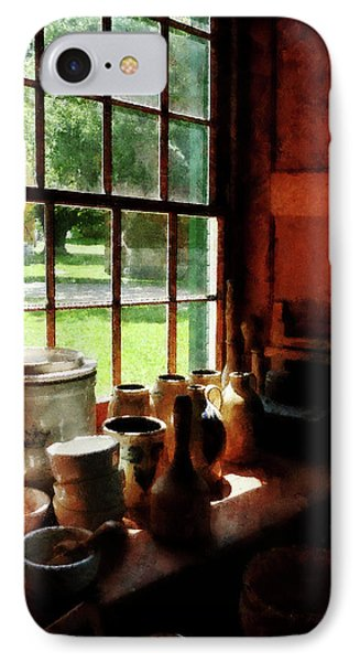 IPhone Case featuring the photograph Clay Jars On Windowsill by Susan Savad