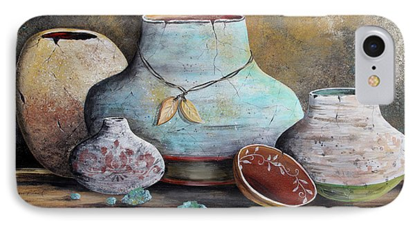 IPhone Case featuring the painting Clay Pottery Still Lifes-b by Jean Plout