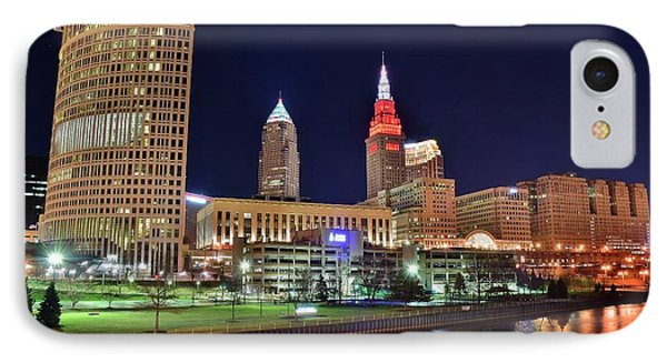 Cle Over The Cuyahoga IPhone Case by Frozen in Time Fine Art Photography