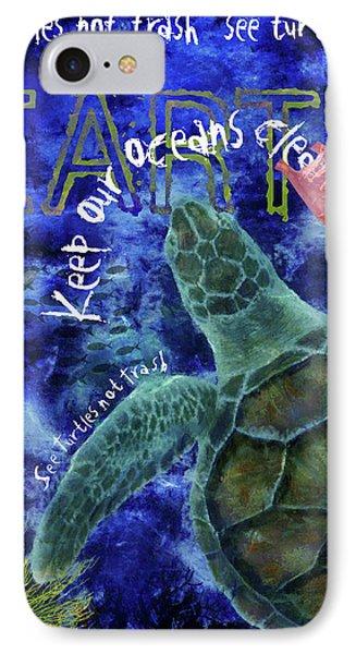 IPhone Case featuring the digital art Clean Oceans Sea Turtle Art by Nola Lee Kelsey
