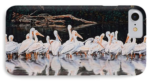 Clear Lake Pelicans IPhone Case by Linda Becker