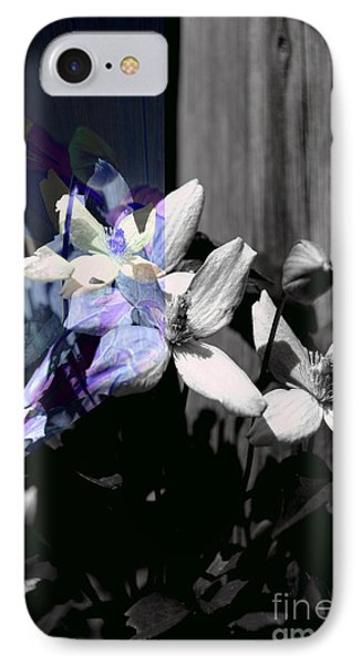 Clematis 2 Shades Of Grey IPhone Case by Elaine Hunter