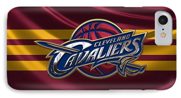 Cleveland Cavaliers - 3 D Badge Over Flag IPhone Case by Serge Averbukh