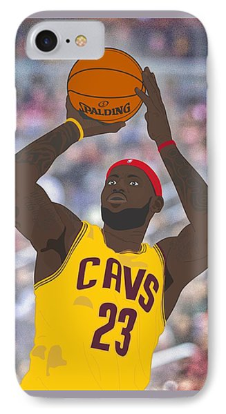 Cleveland Cavaliers - Lebron James - 2014 IPhone Case by Troy Arthur Graphics