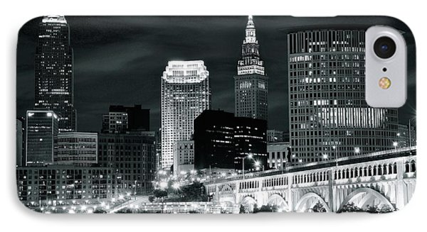 Cleveland Iconic Night Lights IPhone Case by Frozen in Time Fine Art Photography
