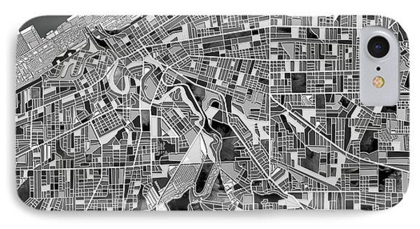 Cleveland Map Black And White IPhone Case