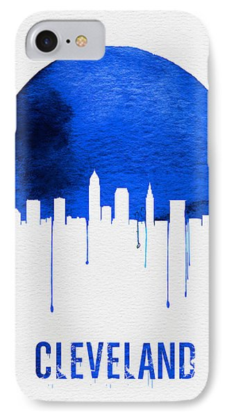 Cleveland Skyline Blue IPhone Case by Naxart Studio