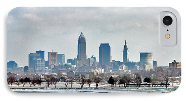 Cleveland Skyline In Winter IPhone Case by Bruce Patrick Smith