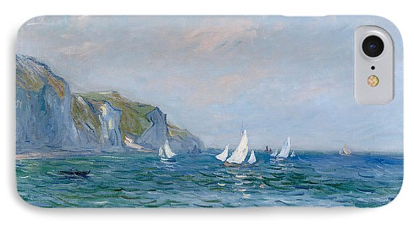 Cliffs And Sailboats At Pourville  IPhone Case by Claude Monet