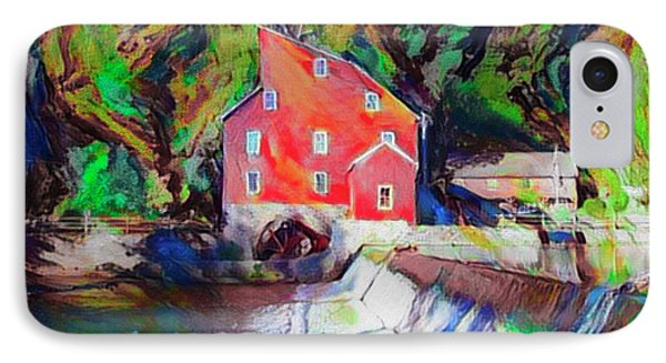 Clinton New Jersey -the Red Mill  On The Raritan River  Watercol IPhone Case by Bill Cannon