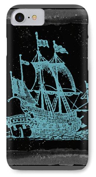Blue Clipper Ship Starry Night IPhone Case by Brandi Fitzgerald