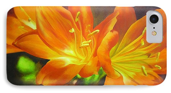 IPhone Case featuring the painting Clivias by Chris Hobel