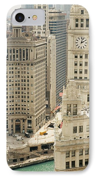 Clock Tower Along A River, Wrigley IPhone Case by Panoramic Images