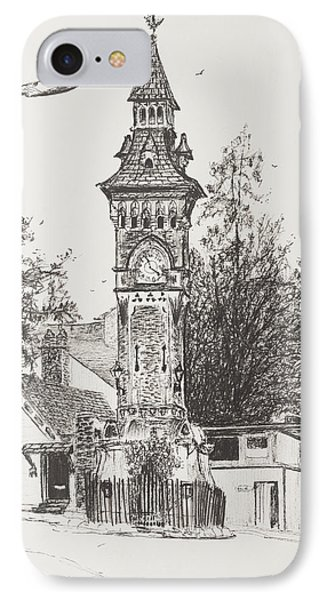 Clock Tower  Hay On Wye IPhone Case