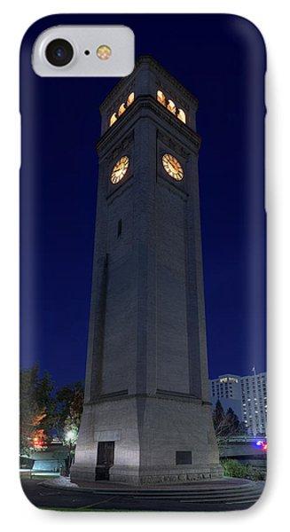 Clock Tower Spokane W A IPhone Case by Steve Gadomski