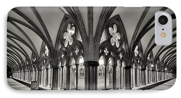 Cloisters Of Salisbury Cathedral England  IPhone Case by Shirley Mitchell