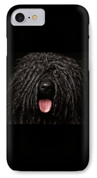 Close Up Portrait Of Puli Dog Isolated On Black IPhone 7 Case by Sergey Taran